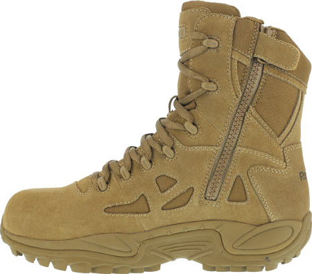 "Men's Reebok Work Rapid Response RB RB8850 8"" Military Side Zip Boot, Coyote, large, image 3"