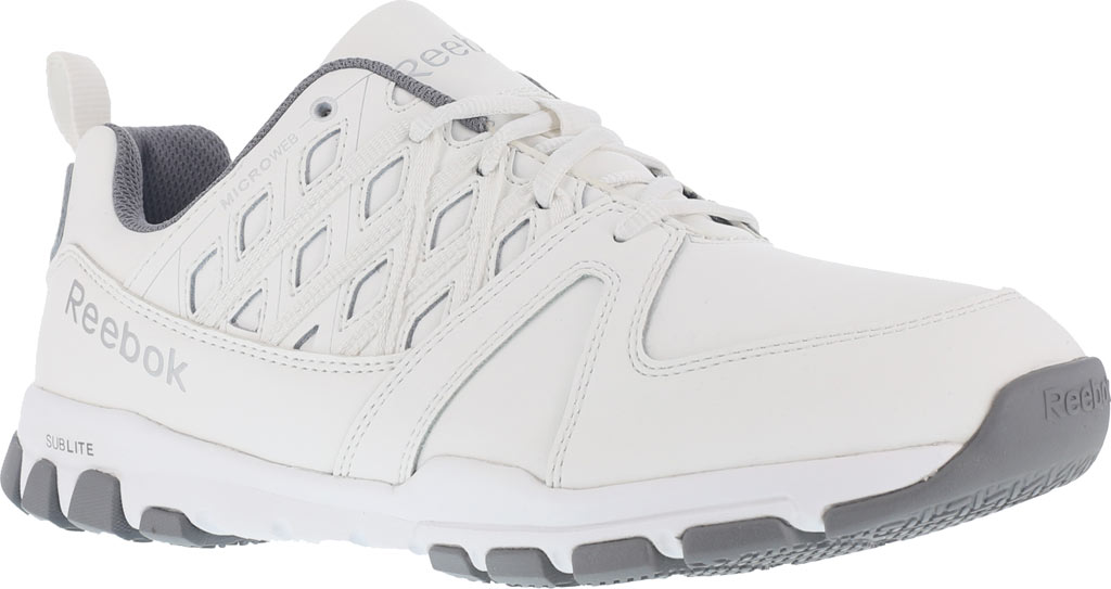 Women's Reebok Work Sublite RB424 Work Shoe, White Leather, large, image 1