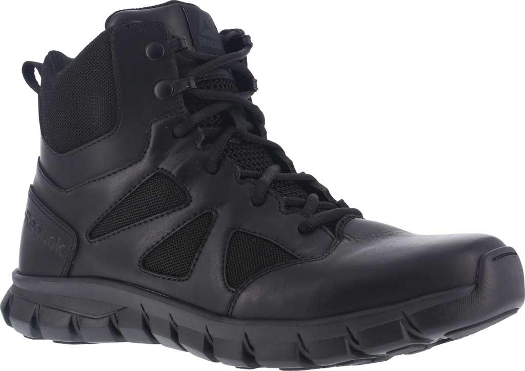 "Men's Reebok Work RB8605 Sublite Cushion Tactical 6"" Soft Toe Boot, Black Leather/Ballistic Nylon, large, image 1"