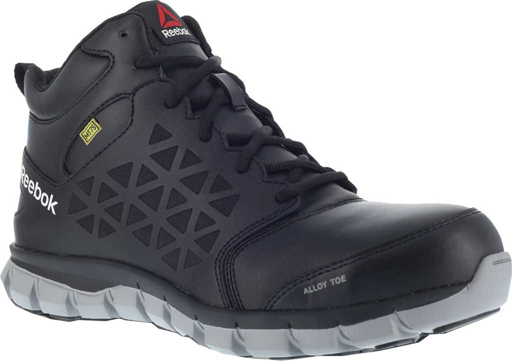 Men's Reebok Work RB4143 Sublite Cushion Work Alloy Toe Work Shoe, Black Leather, large, image 1