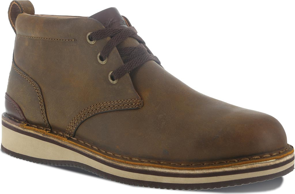 Men's Rockport Works RK2801 Prestige Point Work Steel Toe Chukka, Brown Full Grain Leather, large, image 1