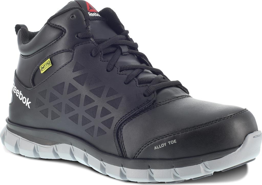 Women's Reebok Work Sublite Cushion RB143 Alloy Toe Mid Cut Work Shoe, Black Leather, large, image 1