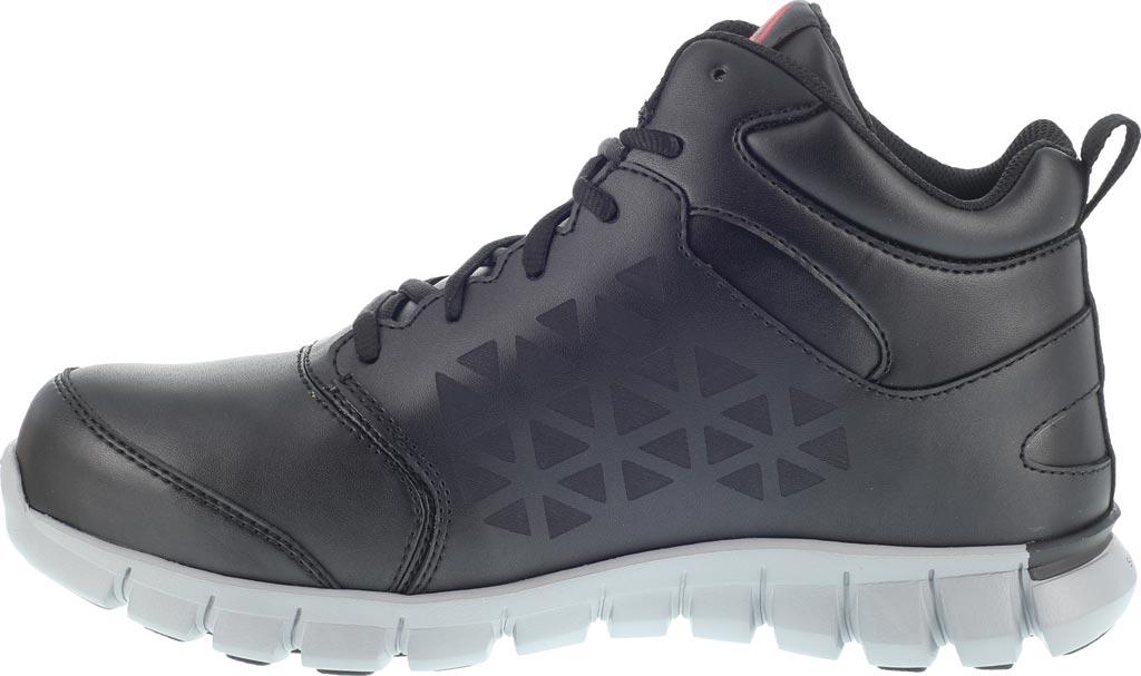 Women's Reebok Work Sublite Cushion RB143 Alloy Toe Mid Cut Work Shoe, Black Leather, large, image 3