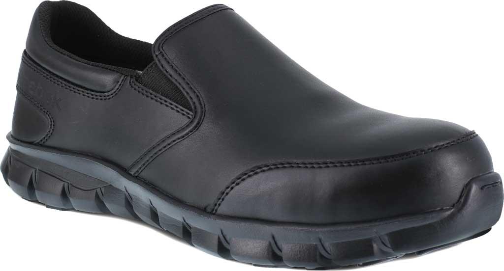 Women's Reebok Work Sublite Cushion RB036 Composite Toe Oxford, Black Leather, large, image 1