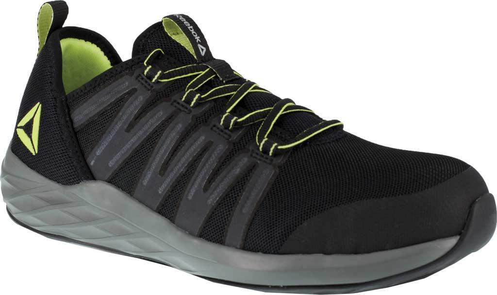 Men's Reebok Work Astroride Work RB2214 Steel Toe Work Shoe, Black/Neon Green Stretch Mesh, large, image 1