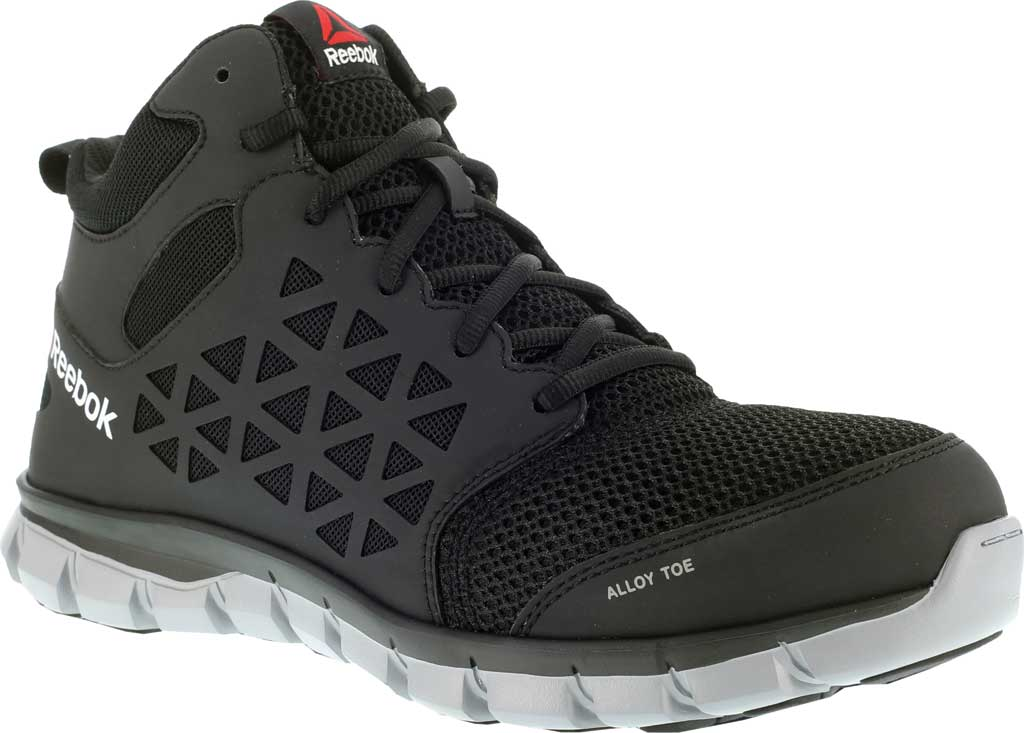 Women's Reebok Work Sublite Cushion Work RB411 Alloy Toe Boot, Black Synthetic/Mesh, large, image 1