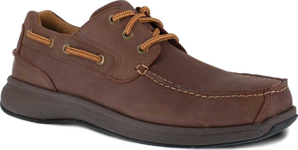Men's Florsheim Work FS2326 Bayside Steel Toe Boat Shoe, Brown Leather, large, image 1