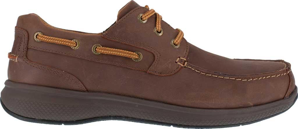 Men's Florsheim Work FS2326 Bayside Steel Toe Boat Shoe, Brown Leather, large, image 2