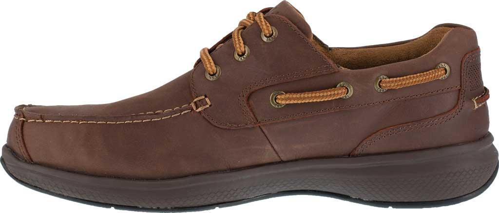 Men's Florsheim Work FS2326 Bayside Steel Toe Boat Shoe, Brown Leather, large, image 3