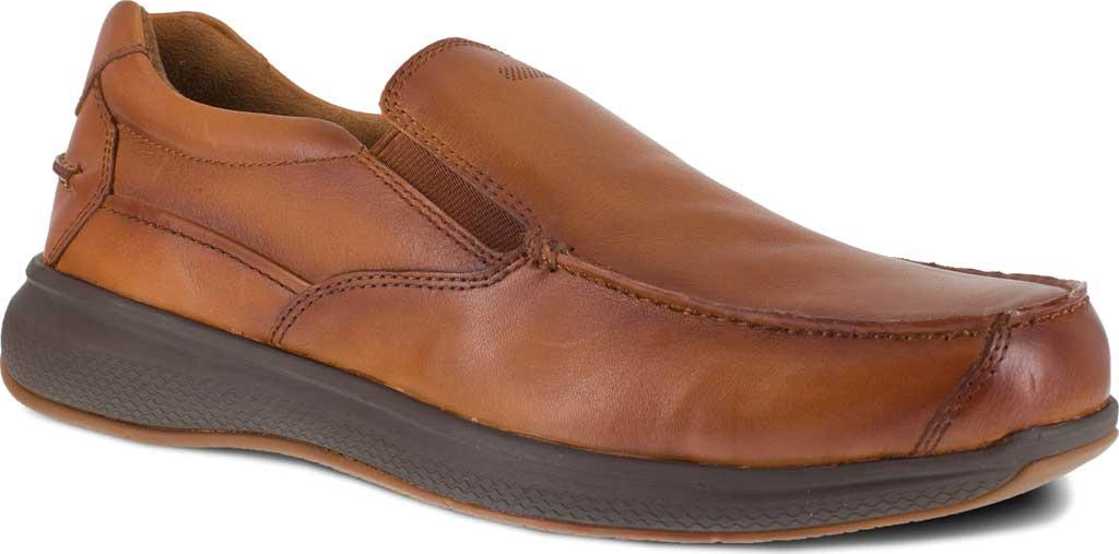 Men's Florsheim Work FS2325 Bayside Steel Toe Slip-On, Cognac Leather, large, image 1