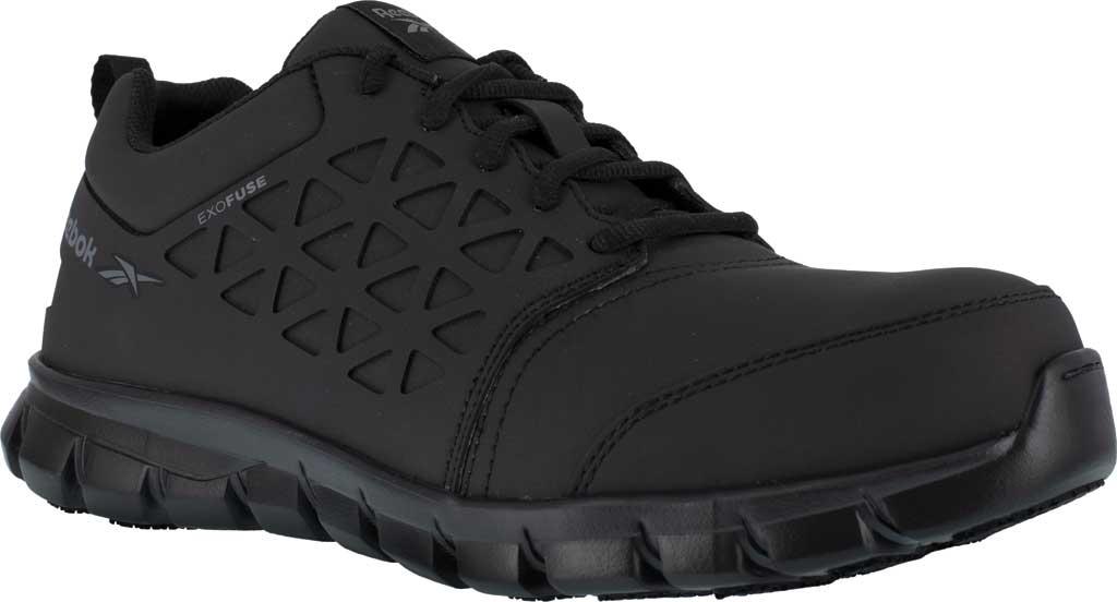 Men's Reebok Work RB4051 Sublite Cushion Work Composite Toe Shoe, Black EXOFUSE Water Resistant Microfiber, large, image 1