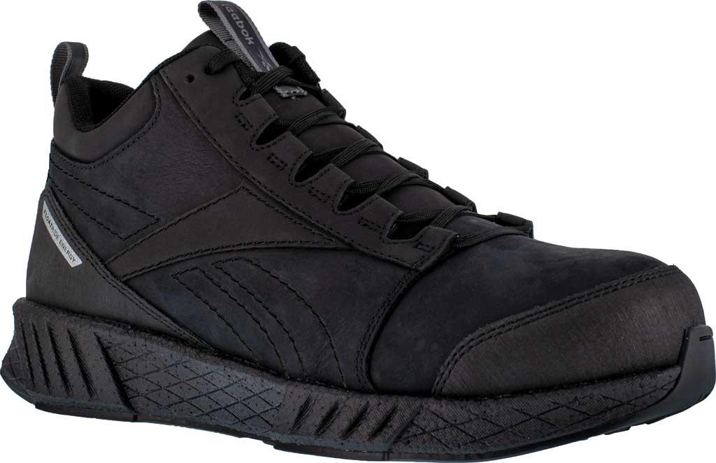 Men's Reebok Work RB4301 Fusion Formidable Work Mid Sneaker, Black/Black Crazyhorse Leather, large, image 1
