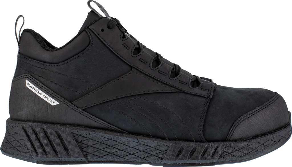 Men's Reebok Work RB4301 Fusion Formidable Work Mid Sneaker, Black/Black Crazyhorse Leather, large, image 2