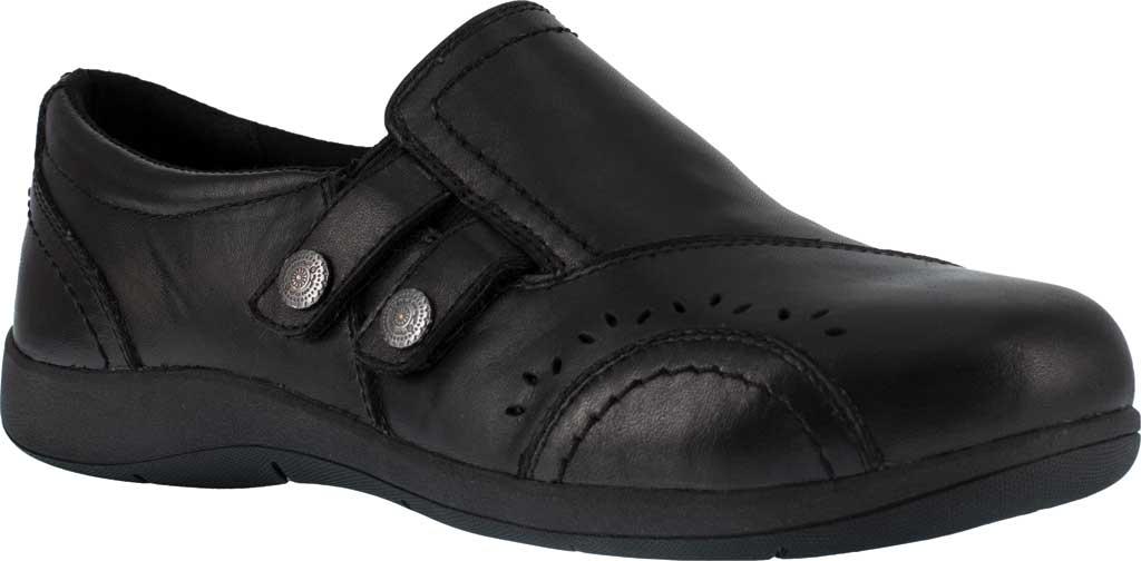 Women's Rockport Works RK761 Daisey Alloy Toe Work Slip On, Black Leather, large, image 1