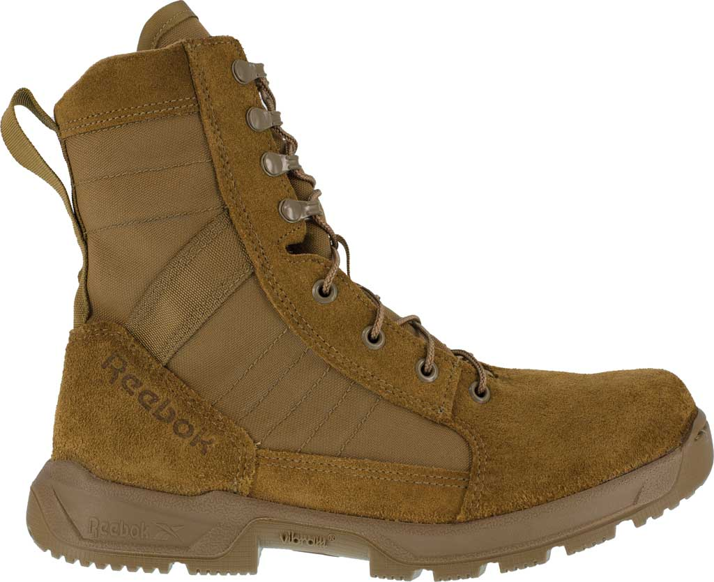 Men's Reebok Work CM8940 Strikepoint U.S. Performance Military Boot, Coyote Cattlehide Leather/Cordura, large, image 2