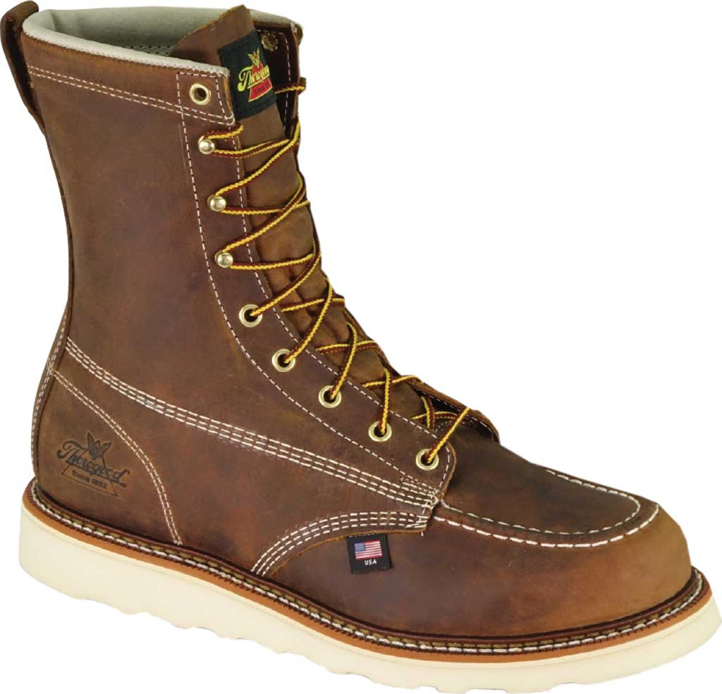 """Men's Thorogood 8"""" Wedge Composite Safety Toe Boot 804-4478, Trail Crazy Horse Full Grain Leather, large, image 1"""