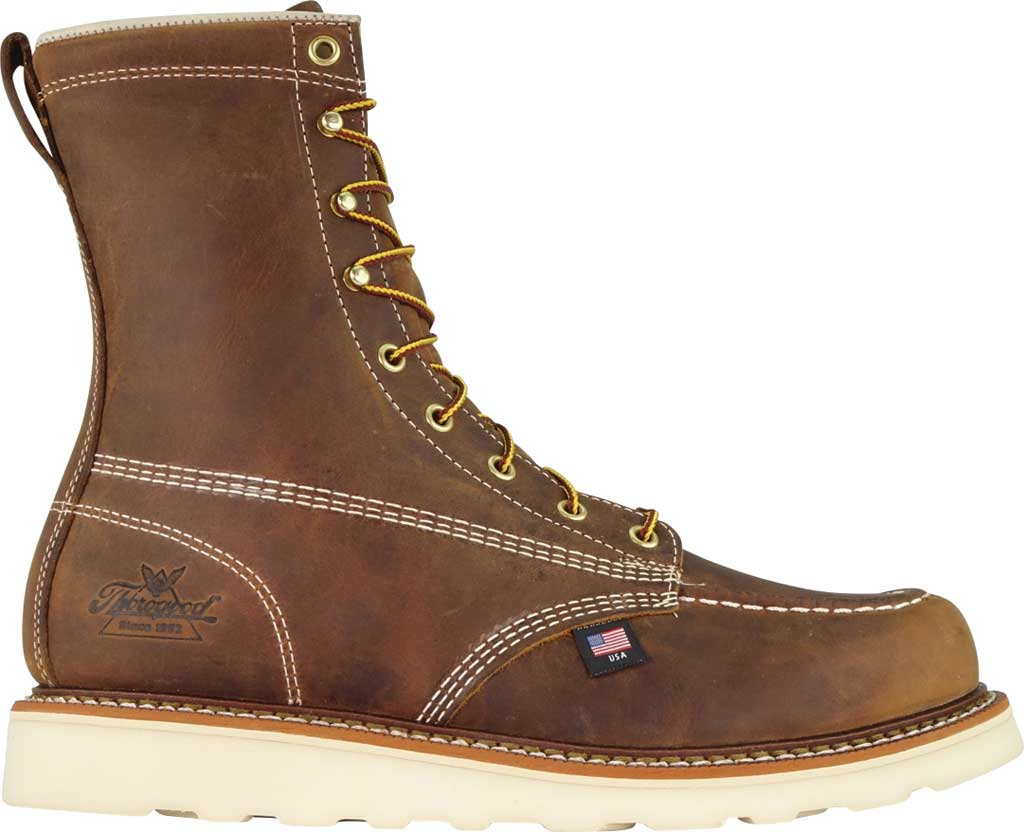 """Men's Thorogood 8"""" Wedge Composite Safety Toe Boot 804-4478, Trail Crazy Horse Full Grain Leather, large, image 2"""