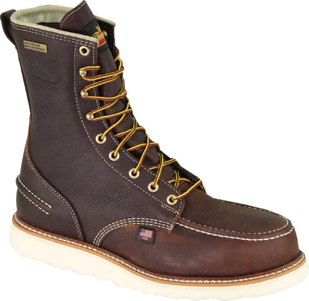 "Men's Thorogood 8"" 1957 Moc Toe Combat Boot 804-3800, Briar Pitstop Full Grain Leather, large, image 1"