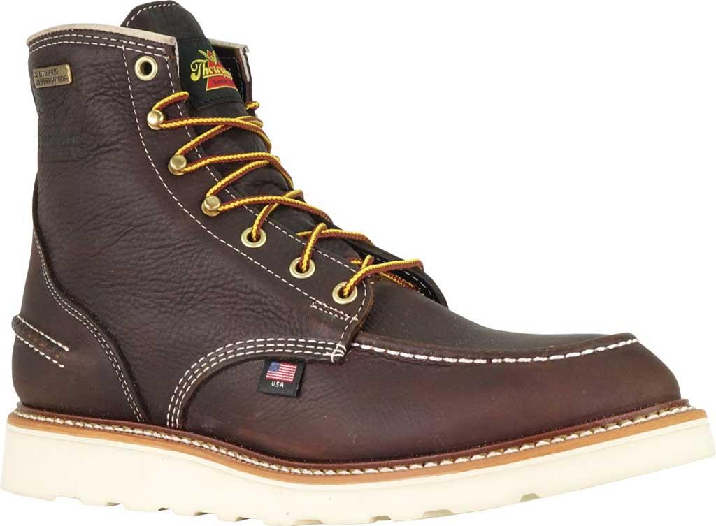 "Men's Thorogood 1957 6"" Moc Toe Combat Boot 814-3600, Briar Pitstop Full Grain Leather, large, image 1"