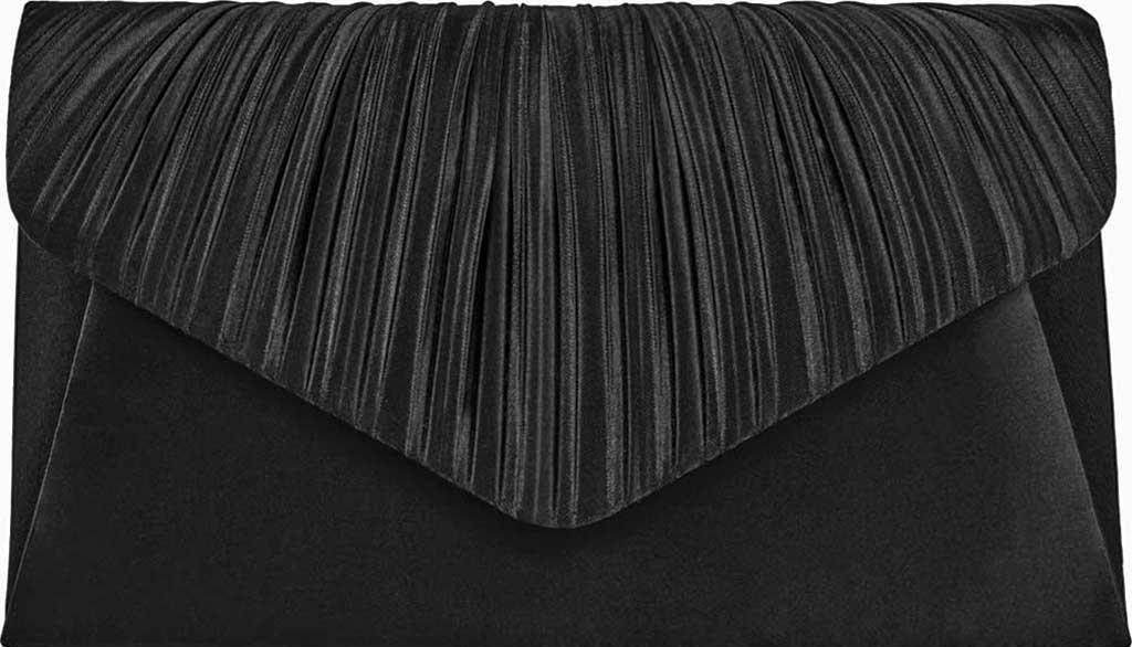 Women's Jessica McClintock Lily Satin Clutch, Black, large, image 1