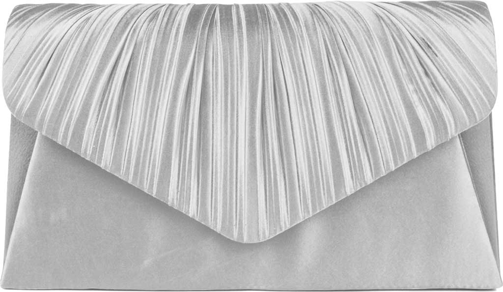 Women's Jessica McClintock Lily Satin Clutch, Silver, large, image 1