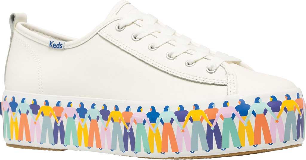 Women's Keds Triple Up Leather Rainbow People Platform Sneaker, White Multi Leather, large, image 1