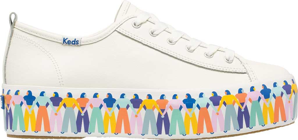 Women's Keds Triple Up Leather Rainbow People Platform Sneaker, White Multi Leather, large, image 2