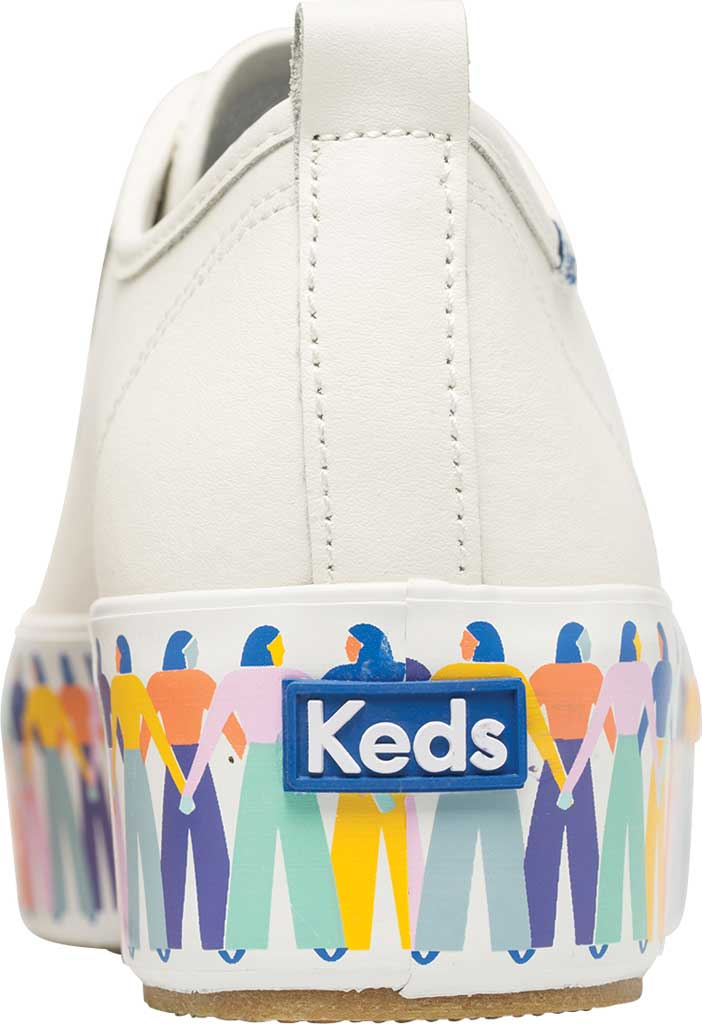 Women's Keds Triple Up Leather Rainbow People Platform Sneaker, White Multi Leather, large, image 4