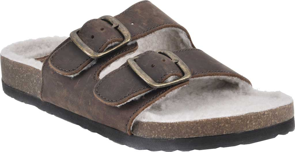 Women's White Mountain Helga Slide Sandal, Brown Crazy Horse Leather/Faux Shearling, large, image 1