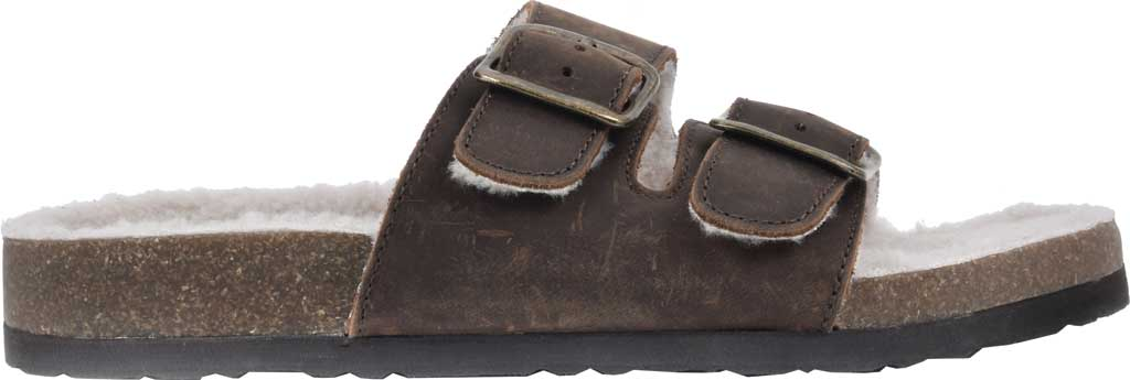 Women's White Mountain Helga Slide Sandal, Brown Crazy Horse Leather/Faux Shearling, large, image 2