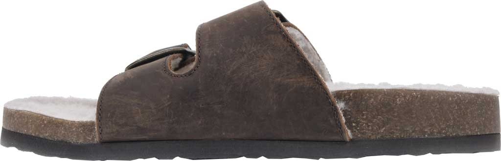 Women's White Mountain Helga Slide Sandal, Brown Crazy Horse Leather/Faux Shearling, large, image 3