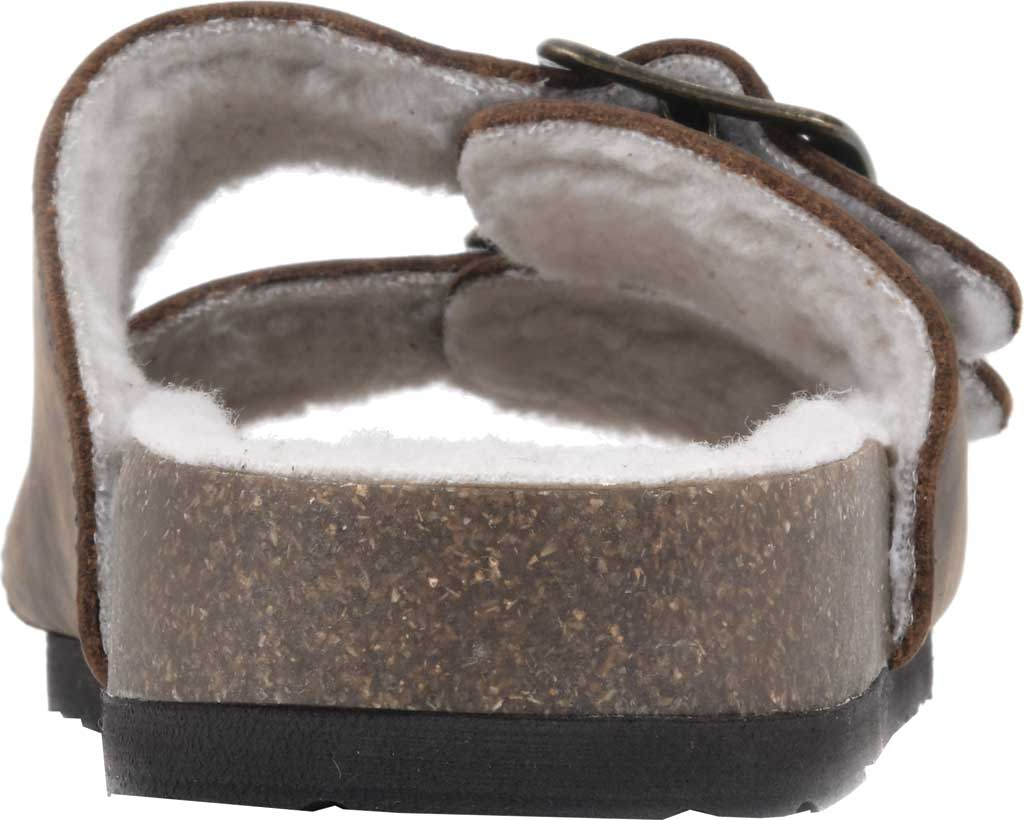Women's White Mountain Helga Slide Sandal, Brown Crazy Horse Leather/Faux Shearling, large, image 4