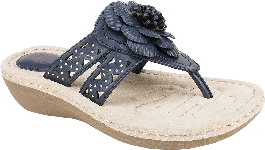 Women's Cliffs by White Mountain Cynthia Thong Sandal, Navy Smooth Polyurethane, large, image 1