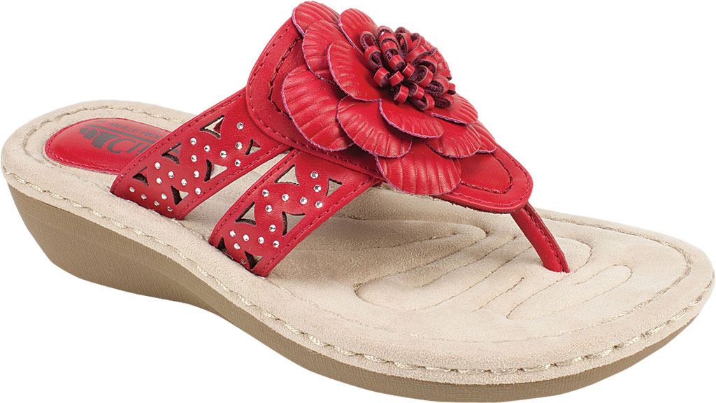 Women's Cliffs by White Mountain Cynthia Thong Sandal, Berry Red Smooth Polyurethane, large, image 1