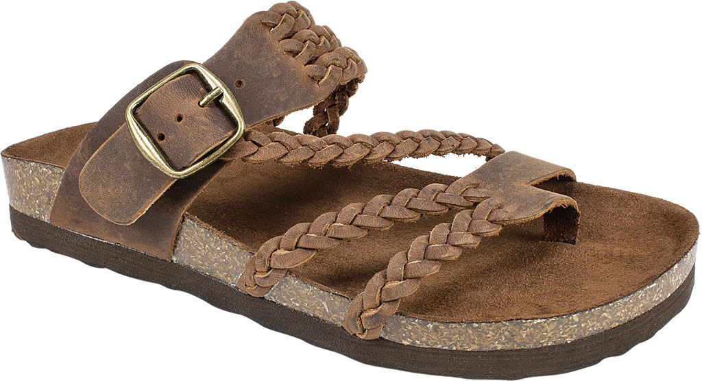 Women's White Mountain Hayleigh Toe Loop Sandal, Brown Leather, large, image 1