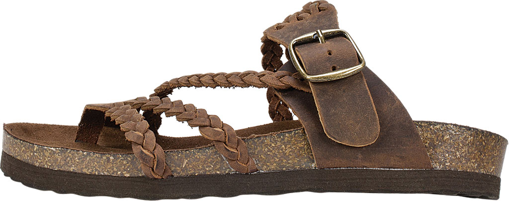 Women's White Mountain Hayleigh Toe Loop Sandal, Brown Leather, large, image 3