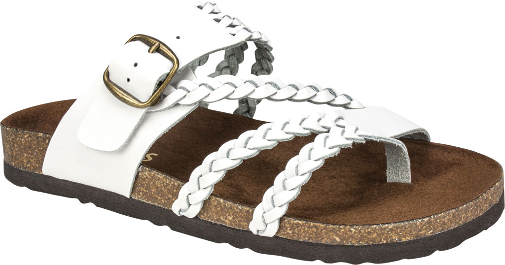 Women's White Mountain Hayleigh Toe Loop Sandal, White Leather, large, image 1