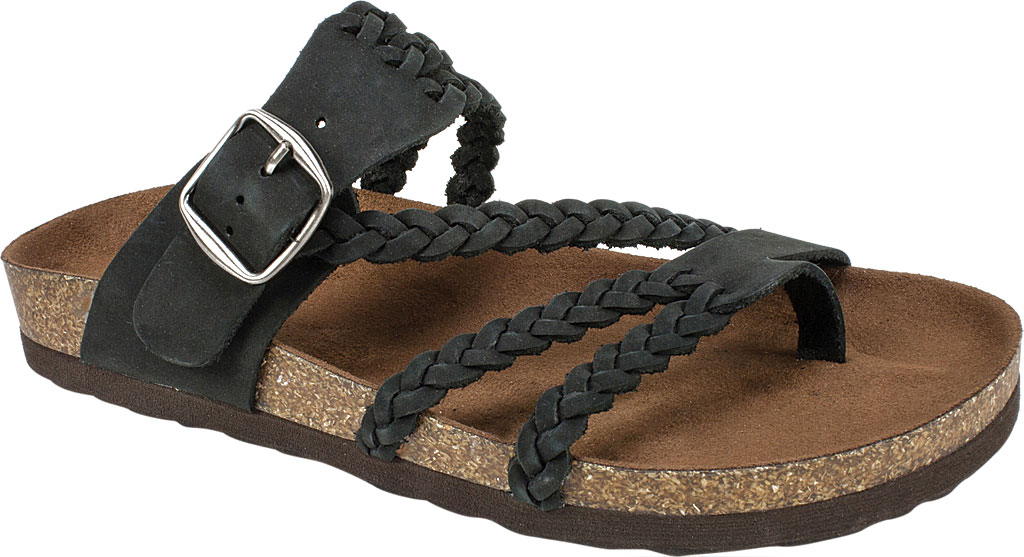 Women's White Mountain Hayleigh Toe Loop Sandal, Black Nubuck, large, image 1