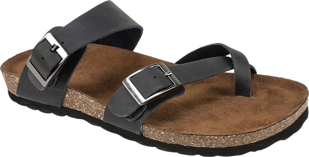 Women's White Mountain Gracie Toe Loop Sandal, Black Leather, large, image 1