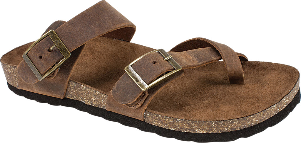 Women's White Mountain Gracie Toe Loop Sandal, Brown Leather, large, image 1