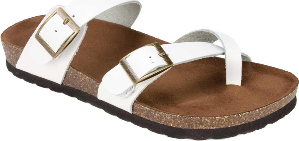 Women's White Mountain Gracie Toe Loop Sandal, White Leather, large, image 1