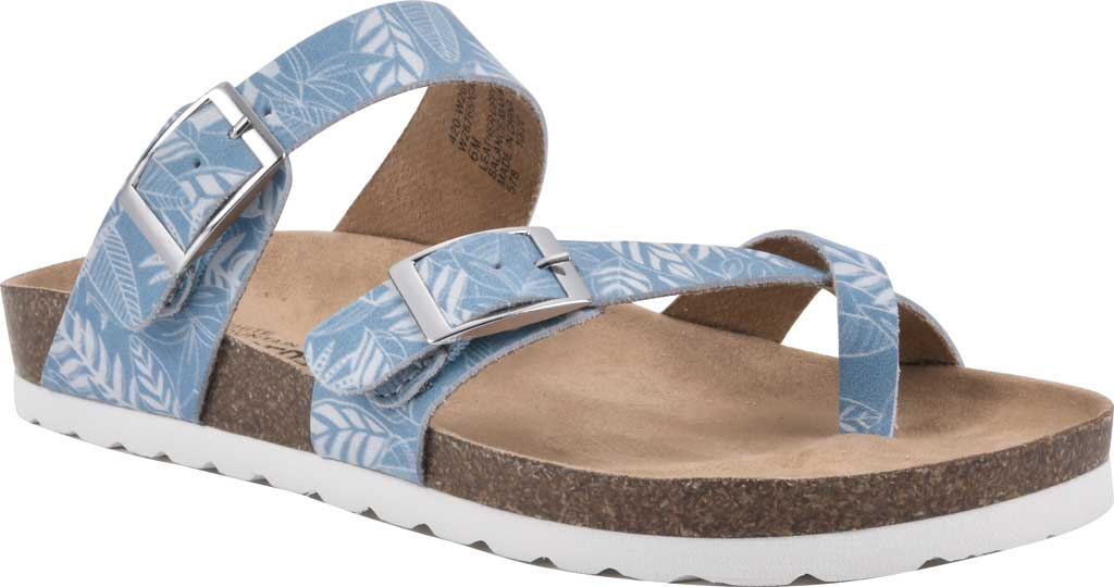 Women's White Mountain Gracie Toe Loop Sandal, Light Blue Tropical Print Leather, large, image 1