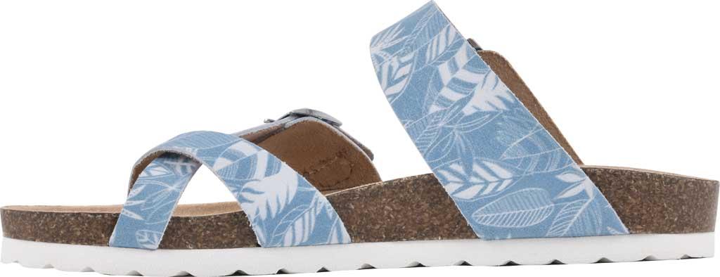 Women's White Mountain Gracie Toe Loop Sandal, Light Blue Tropical Print Leather, large, image 3
