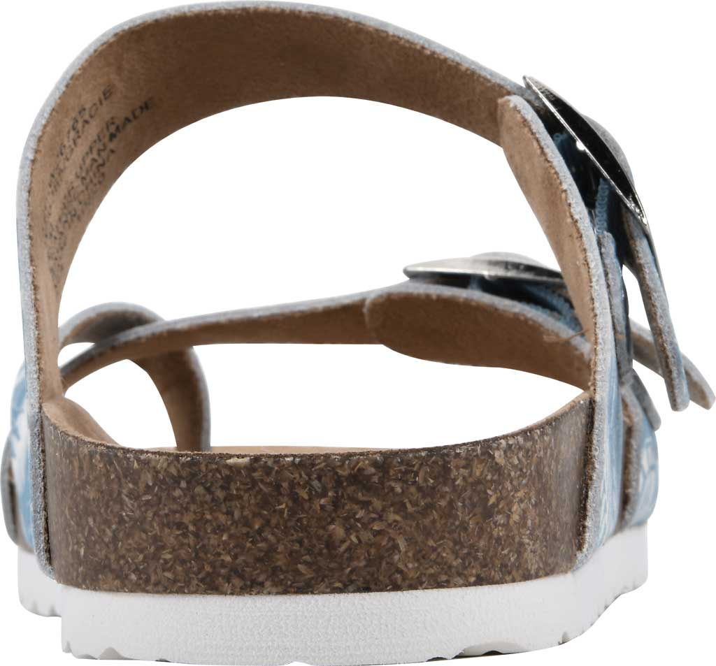 Women's White Mountain Gracie Toe Loop Sandal, Light Blue Tropical Print Leather, large, image 4