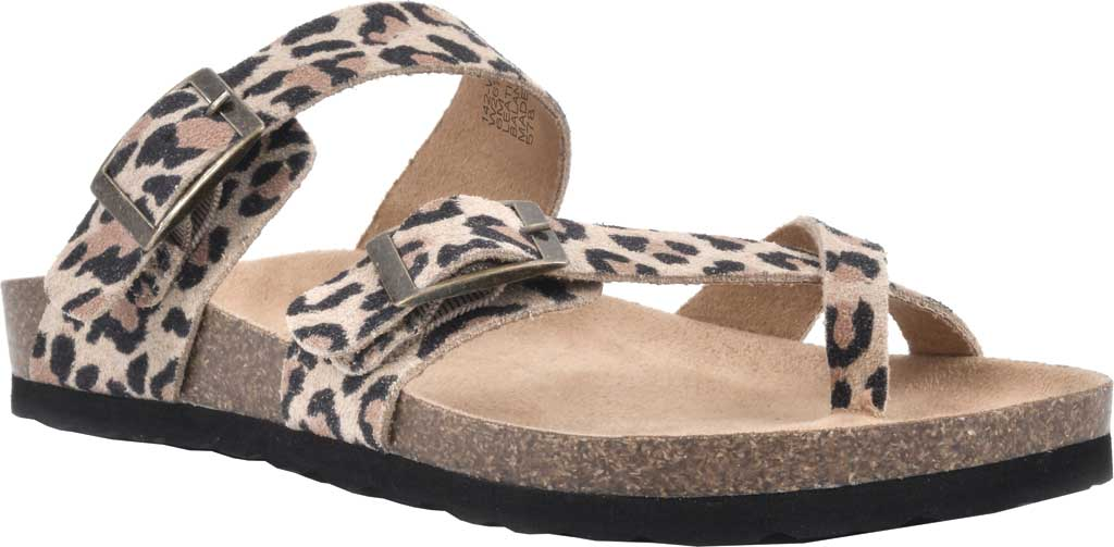 Women's White Mountain Gracie Toe Loop Sandal, Natural/Leopard Print Suede, large, image 1