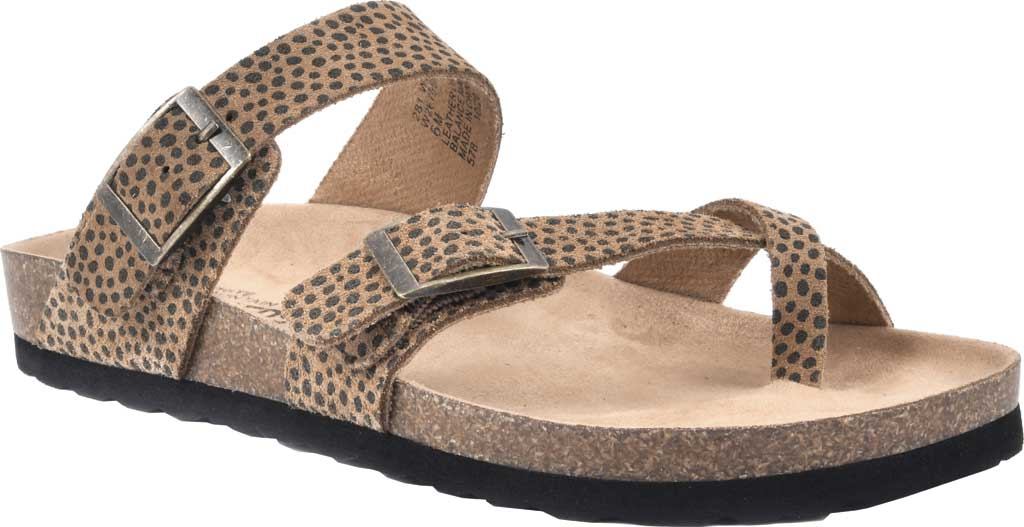 Women's White Mountain Gracie Toe Loop Sandal, Tan Mini Cheetah Print Suede, large, image 1