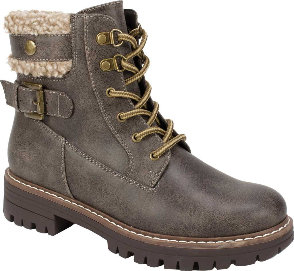 Women's Cliffs by White Mountain Meldon Lace Up Ankle Boot, Stone Fabric, large, image 1