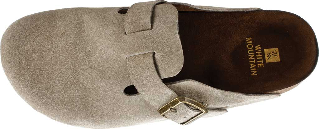 Women's White Mountain Bari Buckle Clog, Taupe Suede, large, image 5