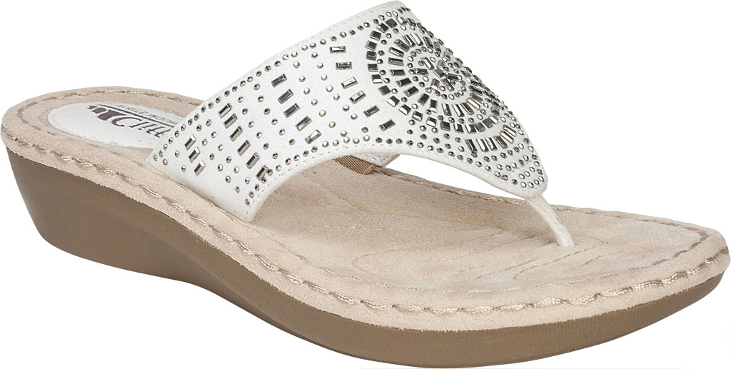 Women's Cliffs by White Mountain Cienna Thong Sandal, White Fabric, large, image 1