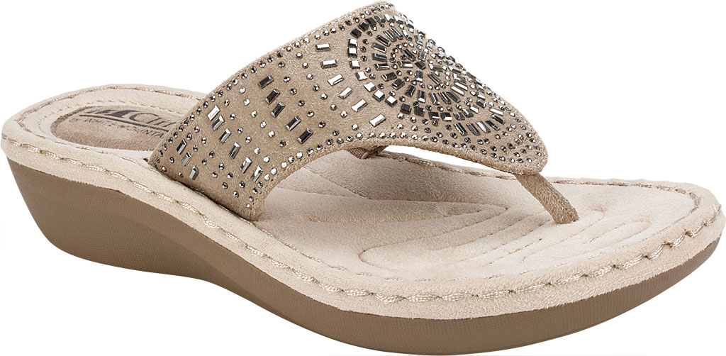Women's Cliffs by White Mountain Cienna Thong Sandal, Stone Fabric, large, image 1